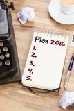 Notizbuch mit jährlichem Plan Stockfoto