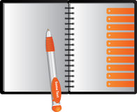 Notizbuch mit orange Heizerbookmarks und -feder Lizenzfreies Stockfoto