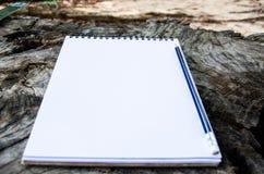 Notizbuch mit pensil auf altem Baum Stockfotografie