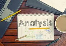 Notizbuch mit Text innerhalb der Analyse auf Tabelle mit Kaffee, noteboo Lizenzfreie Stockfotografie
