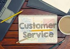 Notizbuch mit Text innerhalb des Kundendiensts an der Tabelle mit Kaffee, Stockbilder