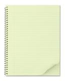 Notizbuch mit typischem gelbem aufbereitetem Papier Stockfotografie