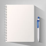 Notizbuch mit weißem Kugelschreiber Vektor Abbildung
