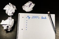 Notizbuch mit Zielen von Jahr 2017 Stockbild