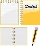 Notizbuch, Notizblock und Bleistift Stockbild