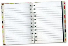 Notizbuch-Tagebuch innerhalb der Seiten Stockfotografie