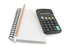 Notizbuch und Bleistift, ein Rechner Stockfotos