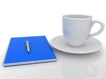 Notizbuch und ein Cup Stockbild