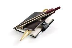 Notizbuch und Griff für Geschäft Stockfotos