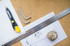 Notizbuch und Instrumente stockbilder