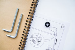 Notizbuch und Konstruktionszeichnung Stockbilder