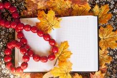 Notizbuch und rote Halskette auf Herbstblättern Stockfotografie