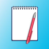 Notizbuch und rote Stiftvektorillustration Stockfoto