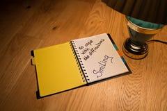 Notizbuch- und Schreibensmotivation stockbilder