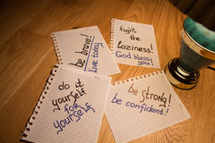 Notizbuch- und Schreibensmotivation Stockfotos