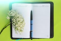 Notizbuch und Stift auf Grün Lizenzfreie Stockfotos
