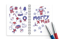 Notizbuch und Stifte mit Kinderjungenhandzeichnungssatz, fröhliches x& x27; mas, Weihnachtssymbolikonenkonzept-Ideenillustration Stockfotos