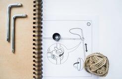 Notizbuch und Zeichnung Stockfoto