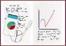 Notizbuchpapier, mit ZeichnungsGeschäftsstrategie-Plankonzeptidee, Handynachrichtenschablone auf Schirm, Vektorillustration Stockfotos
