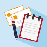 Notizbuchpost und Bleistiftdesign Lizenzfreies Stockbild