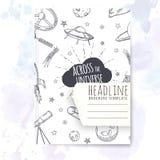 Notizbuchschablone mit Hand gezeichneten Astronomiegekritzeln Stockbilder