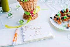 Notizbuchwünsche für Hochzeitsfest Lizenzfreie Stockfotos