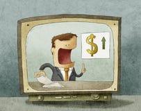 Notizie dal mondo degli affari sulla TV Immagine Stock Libera da Diritti