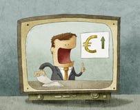 Notizie dal mondo degli affari sulla TV Fotografie Stock Libere da Diritti
