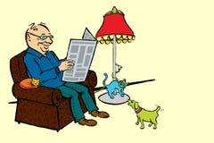 Notizie della lettura dell'uomo con i gatti ed il cane Fotografia Stock Libera da Diritti