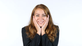 Notizie di Reacting To Positive della donna di affari, successo, fondo bianco Immagine Stock Libera da Diritti