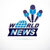 Notizie e fatti che riferiscono logo di vettore composto facendo uso delle notizie di mondo i Fotografia Stock