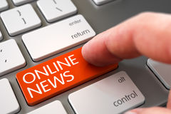 Notizie online - concetto chiave della tastiera 3d Fotografie Stock