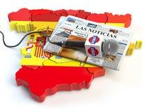 Notizie spagnole, stampa e concetto di giornalismo Microfono e notizie Fotografia Stock