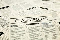 Notizie sugli annunci dei classifieds, lavori di carriera di ricerca Fotografia Stock