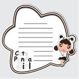 Notizkarten-Papierkarikatur mit nettem Pandamädchen auf dem schwarzen Rahmen passend für Kinderpostkarte Lizenzfreies Stockfoto