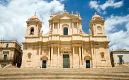 Noto-The cathedral. Southern Italy-Noto, near Siracusa-The cathedral. Noto is very famous for the baroque and the Cathedral is one of the best examples of Royalty Free Stock Photo