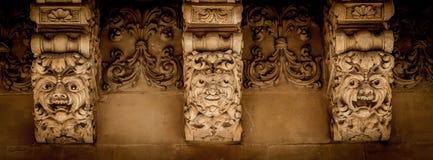 NOTO ITALIEN - detalj av den barocka balkongen, 1750 Royaltyfri Foto