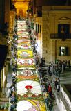 The baroque style and the traditions in Sicily. Noto, Italy - May 15, 2004: Sicily island, nighy works for the Flowers Festival Infiorata Royalty Free Stock Images