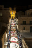 Noto in Province of Siracusa, Sicily. The Infiorata. Royalty Free Stock Photo