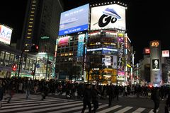 That notorious Shibuya crossing at night. Crowded, packed, and s stock photography