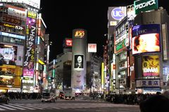 That notorious Shibuya crossing at night. Crowded, packed, and s royalty free stock photography