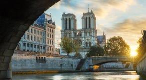 Notre κυρία de Παρίσι και ποταμός του Σηκουάνα στο Παρίσι, Γαλλία Στοκ εικόνα με δικαίωμα ελεύθερης χρήσης