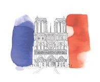 Notre σκίτσο κυρίας de Παρίσι στοκ φωτογραφία με δικαίωμα ελεύθερης χρήσης