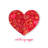 Notre amour est conception magique de calligraphie avec la forme de papier rouge de coeur Photographie stock libre de droits