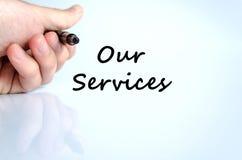 Notre concept des textes de services images stock