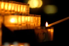 Notre Dam candles stock photo