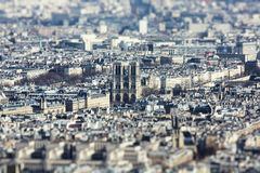 Notre Dam. The  photo show the top view of Paris with tily-shift filter Royalty Free Stock Photos