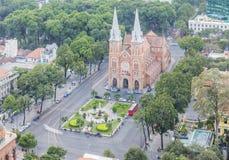 Notre Damae amd Katedralny centrum miasta w zmierzchu Fotografia Stock