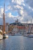 Notre Damae de losu angeles Garde widok Od Vieux portu fotografia stock