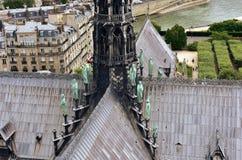 Notre Damae iglica, los angeles Fleche i o?owiani odziani drewniani dachy przed ogieniem, Widok ewangeli?ci i aposto?owie Paris f obrazy stock